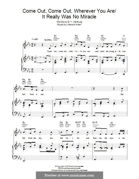 Come Out, Come Out, Wherever You Are: For voice and piano (or guitar) by Harold Arlen