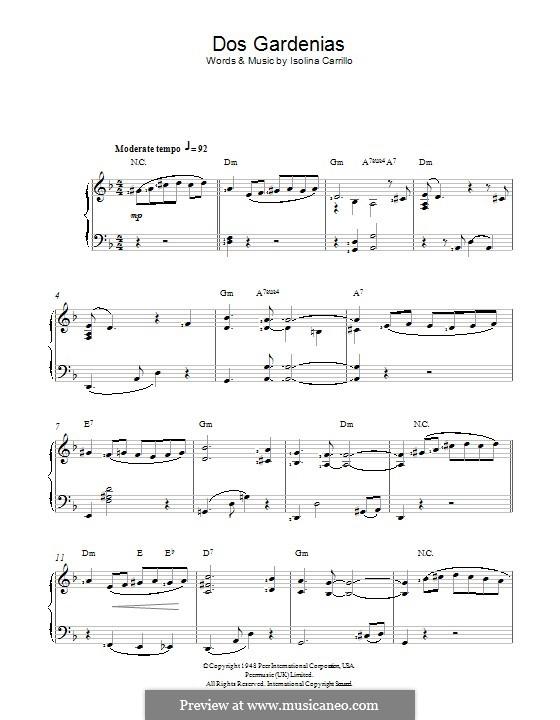 Dos Gardenias (The Buena Vista Social Club): For piano by Isolina Carrillo