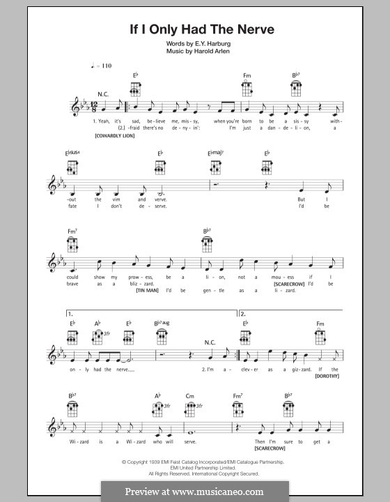 If I Only Had the Nerve / We're Off To See the Wizard (from The Wizard of Oz): For ukulele by Harold Arlen