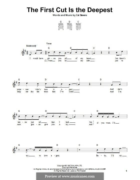 The First Cut Is the Deepest: For guitar with tab by Cat Stevens