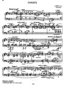 Piano Sonata in B Minor, Op.1: For a single performer by Alban Berg