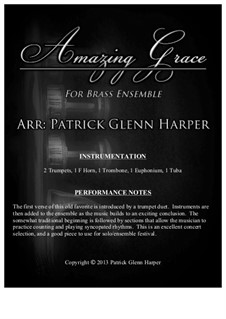 Amazing Grace: For brass ensemble by folklore