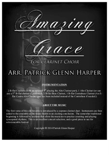 Amazing Grace: For clarinet choir by folklore