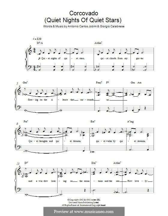 Corcovado (Quiet Nights of Quiet Stars): For voice and piano by Antonio Carlos Jobim