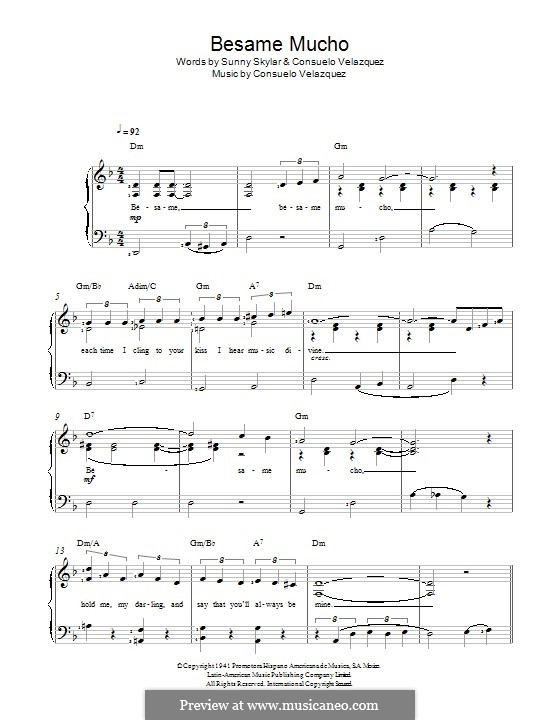 Besame Mucho (Kiss Me Much): For voice and piano by Consuelo Velazquez
