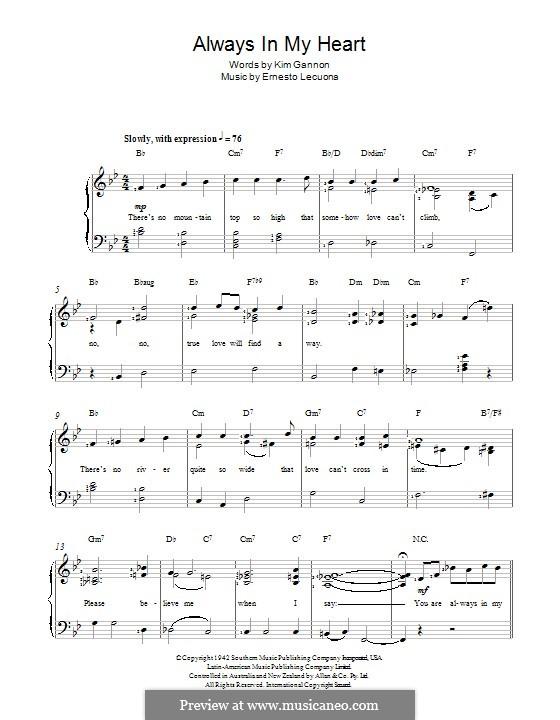 Always in My Heart (Siempre en mi Corazon): For voice and piano by Ernesto Lecuona, Kim Gannon