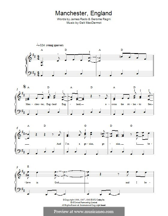 Manchester England: For piano by Galt MacDermot