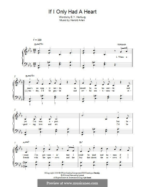 If I Only Had a Heart (from The Wizard of Oz): For piano by Harold Arlen