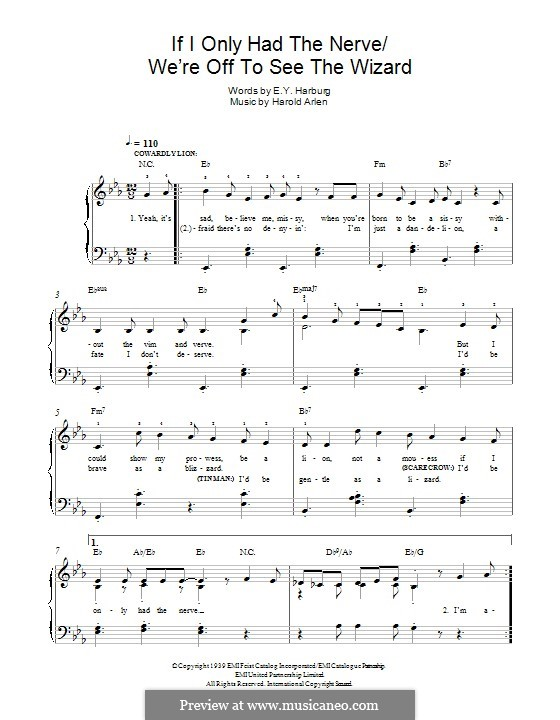 If I Only Had the Nerve / We're Off To See the Wizard (from The Wizard of Oz): For piano by Harold Arlen