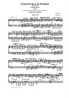 Concerto for Harpsichord and Strings No.1 in D Minor , BWV 1052: Movement III Allegro, for piano version by Johann Sebastian Bach