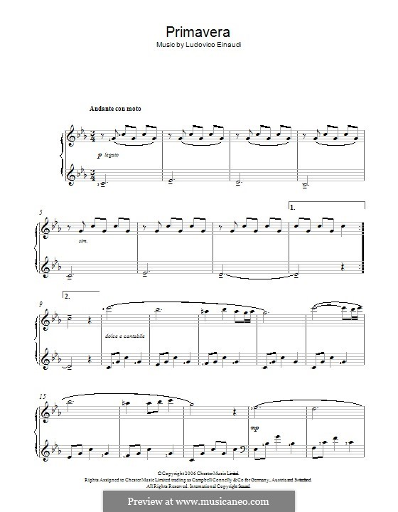 Primavera: For voice and piano by Ludovico Einaudi