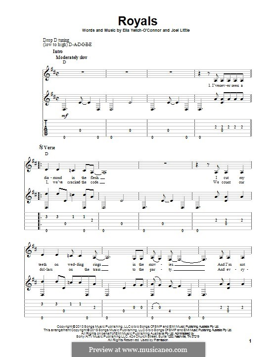 Royals (Lorde): For guitar with tab by Ella Yelich-O'Connor, Joel Little