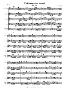 Concerto for Violin and Strings in B Minor, RV 388: Score and all parts by Antonio Vivaldi