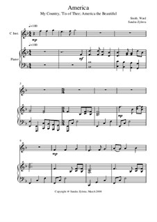 America: Score for two performers (in C) by Samuel Augustus Ward, Samuel Francis Smith