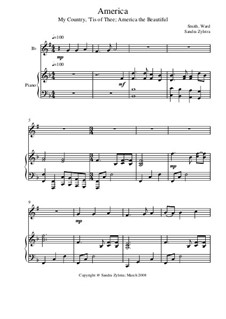 America: Score for two performers (in B Flat) by Samuel Augustus Ward, Samuel Francis Smith