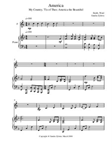 America: Score for two performers (in F) by Samuel Augustus Ward, Samuel Francis Smith