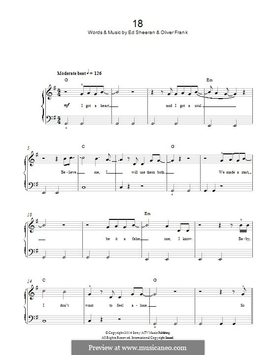 18 (One Direction): For piano by Ed Sheeran, Oliver Frank