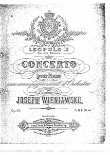 Concerto for Piano and Orchestra in G Minor, Op.20: Arrangement for two pianos four hands by Józef Wieniawski