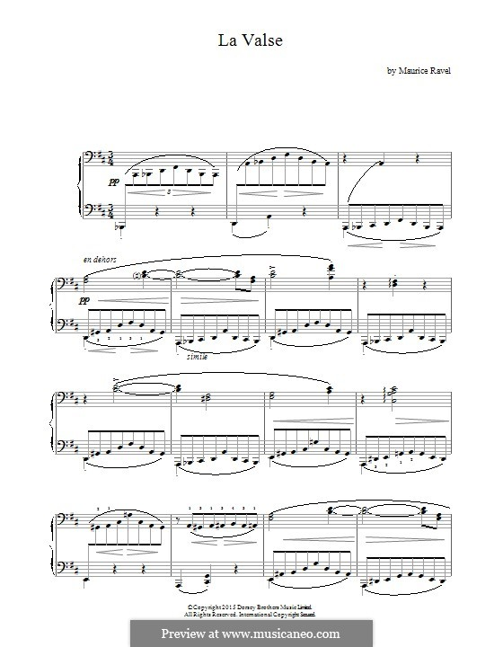 La valse. Choreographic Poem for Orchestra, M.72: Version for piano by Maurice Ravel