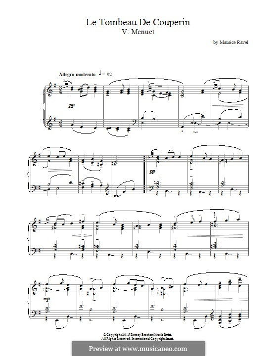 Le tombeau de Couperin for Piano, M.68: Menuet by Maurice Ravel