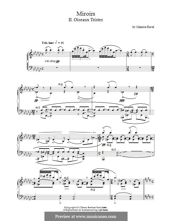 Miroirs. Suite for Piano, M.43: Movement II Oiseaux Tristes by Maurice Ravel