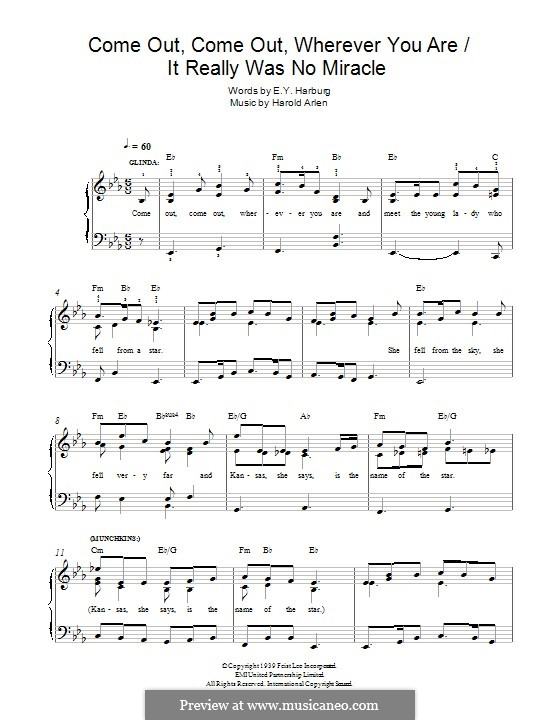 Come Out, Come Out, Wherever You Are: For piano by Harold Arlen