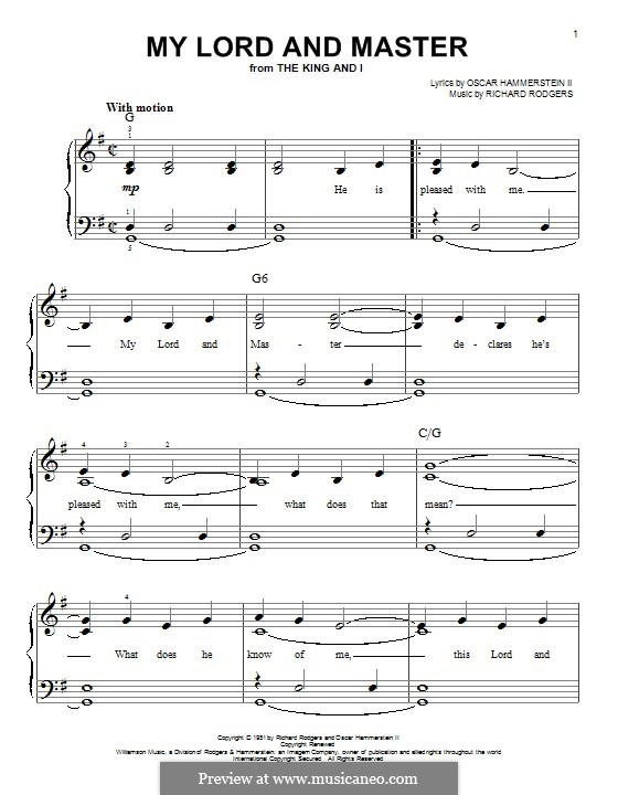 My Lord and Master (from The King and I): For piano by Richard Rodgers