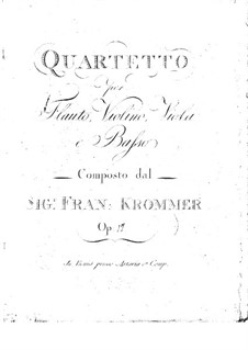 Quartet for Flute and Strings in F Major, Op.17: Quartet for Flute and Strings in F Major by Franz Krommer