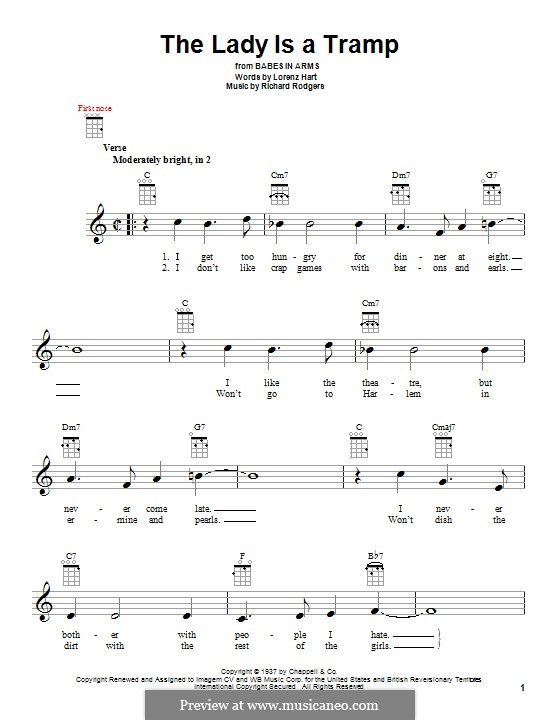 The Lady is a Tramp (Frank Sinatra): For ukulele by Richard Rodgers