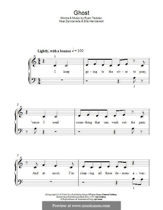 Ghost: For piano by Noel Zancanella, Ryan B Tedder, Ella Henderson