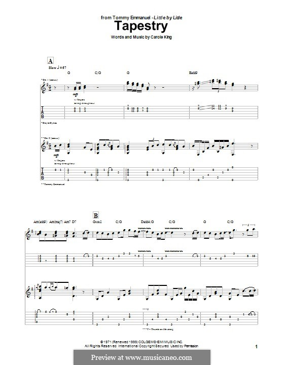 Tapestry: For guitar with tab by Carole King