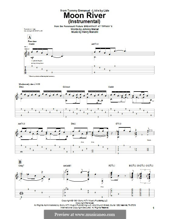 Moon River (from Breakfast at Tiffany's): For guitar by Henry Mancini