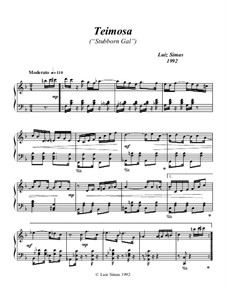 Teimosa (Stubborn Girl): For piano by Luiz Simas