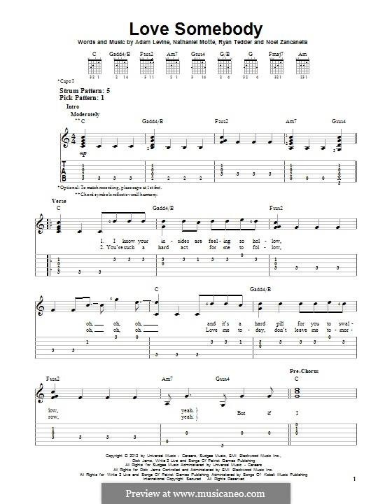 Love Somebody (Maroon 5): For guitar with tab by Adam Levine, Nathaniel Motte, Noel Zancanella, Ryan B Tedder