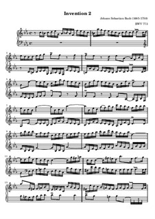 No.2 in C Minor, BWV 773: For piano by Johann Sebastian Bach