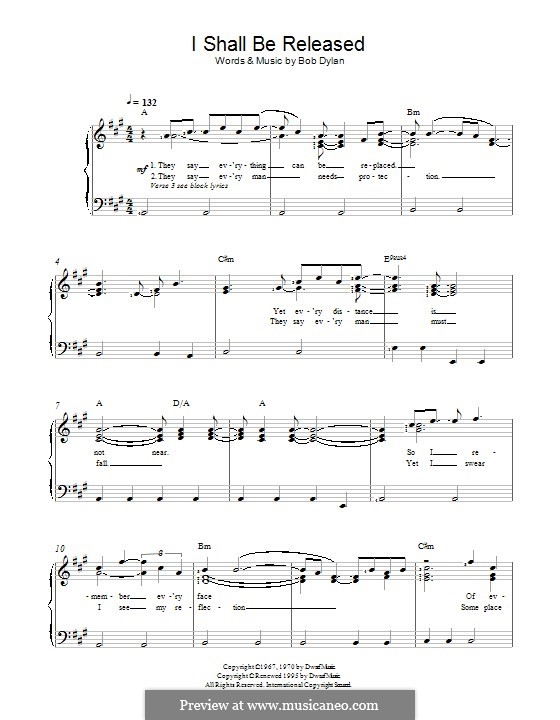 I Shall Be Released: For voice and piano by Bob Dylan