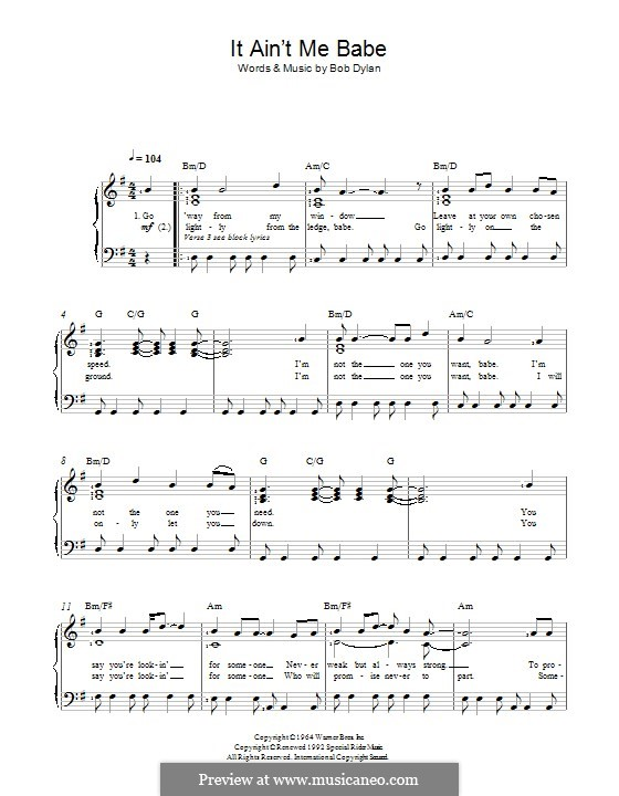 It Ain't Me Babe: For voice and piano by Bob Dylan