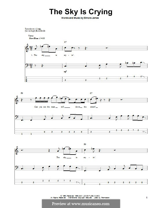 The Sky Is Crying: For bass guitar with tab by Elmore James