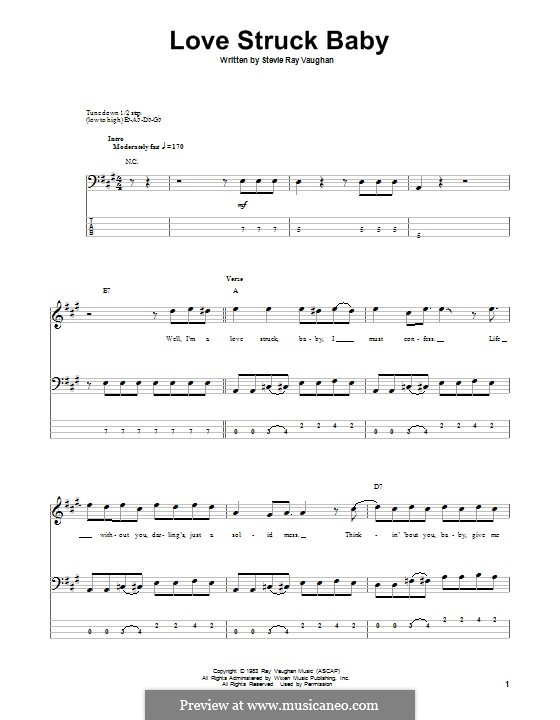 Love Struck Baby: For bass guitar with tab by Stevie Ray Vaughan