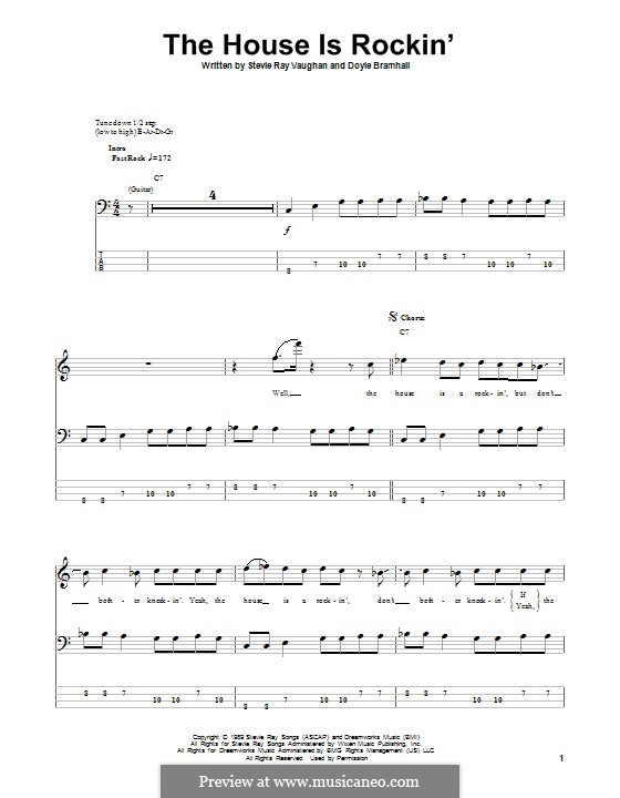 The House Is Rockin' (Stevie Ray Vaughan): For bass guitar with tab by Doyle Bramhall