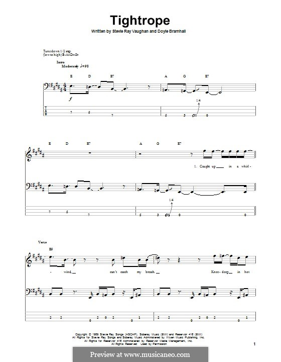 Tightrope (Stevie Ray Vaughan): For bass guitar with tab by Doyle Bramhall