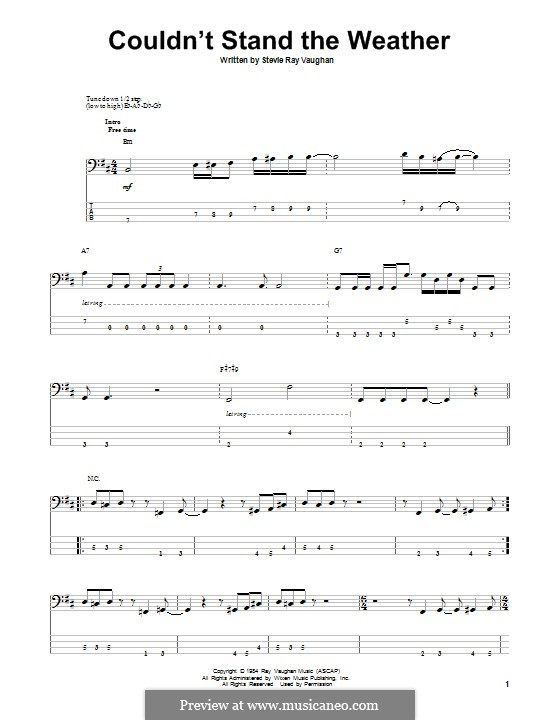 Couldn't Stand the Weather: For bass guitar with tab by Stevie Ray Vaughan
