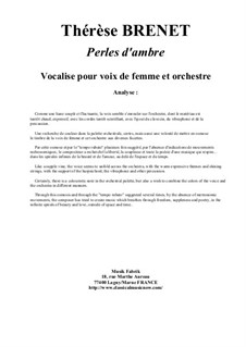 Perles d'Ambres: For female voice and orchestra - score by Thérèse Brenet