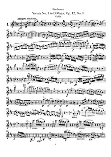 Three Sonatas for Violin and Piano, Op.12: Sonata No.1 – solo part by Ludwig van Beethoven