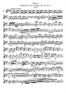 Three Sonatas for Violin and Piano, Op.12: Sonata No.2 – solo part by Ludwig van Beethoven