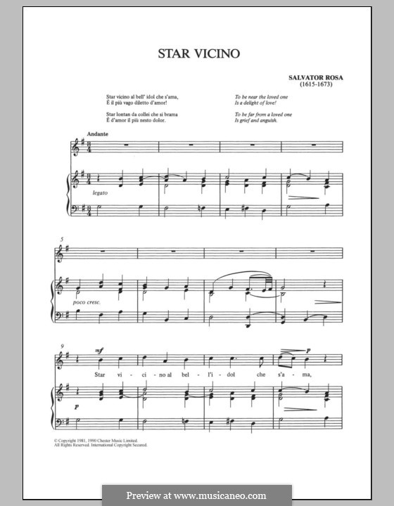 Star vicino: For voice and piano by Salvator Rosa
