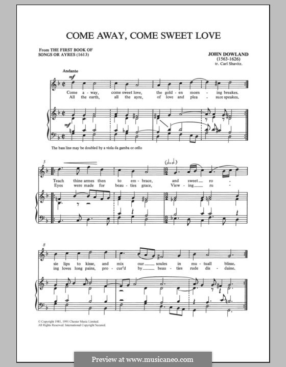 Come Away, Come Sweet Love: For voice and piano by John Dowland