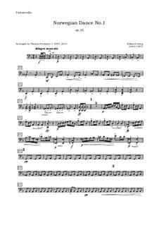 Four Norwegian Dances, Op.35: Arrangement for oboe, violin, viola and cello – cello part by Edvard Grieg