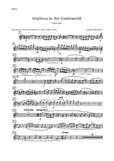 Complete Opera: Ouverture, for oboe, violin, viola and cello - oboe part by Jacques Offenbach