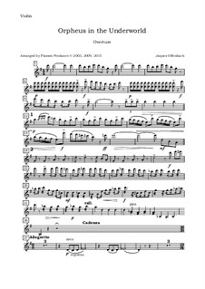 Complete Opera: Ouverture, for oboe, violin, viola and cello - violin part by Jacques Offenbach